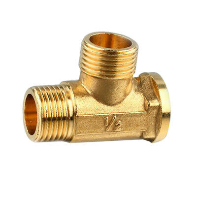 "1/2"" 3 Way Brass Male Male Female Tee Fitting Pipe Connector T-Junction"