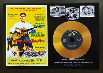 Elvis Presley 'love Me Tender' Signed Gold Disc Collectable Memorabilia Gift Mk1