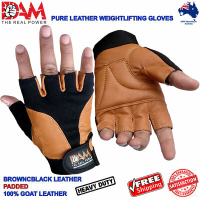 Dam Weightlifting Cow Hide Leather Gloves Hand Padded Wrist Support Brown Black
