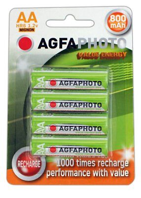 4 x AA SOLAR GARDEN LIGHT AGFA RECHARGEABLE BATTERIES 1.2v 800mAh