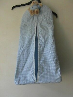 BLUE & WHITE GINGHAM CHECK BABY NAPPY SACK / HOLDER from Walton & Co with TEDDY