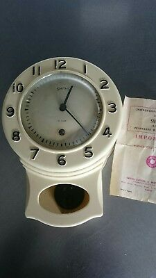 Vintage Mid Century Smiths 8 Day Wall Clock Pendulum Rare Face with Markings