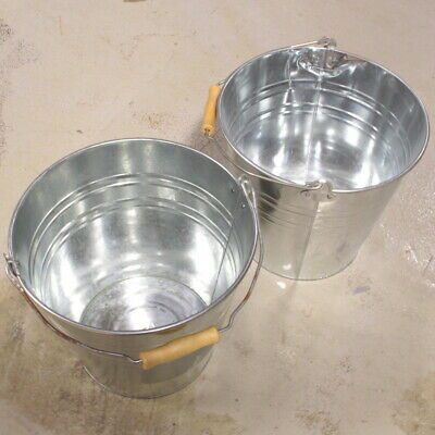 Traditional Strong Galvanised Steel Bucket Pail 12L Capacity - Value Pack of 2