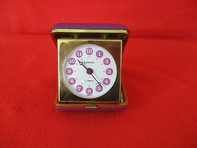 Travel Alarm Clock Europa 2 Jewels German Purple & Gold 5.5 Cm Square Vintage