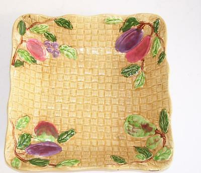 Vintage Shorter and Son Hand Painted Basket Weave Square Dish.