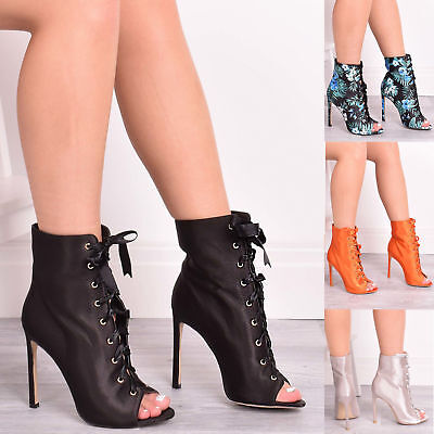 Ladies Womens Ankle Boots Lace Up High Heel Summer Party Peep Toe Shoes Size 3-9