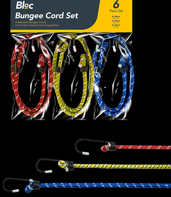 Super Quality Stretchable elastic Cord-Assorted Elastic Bungee Cord Set - 6 Pack