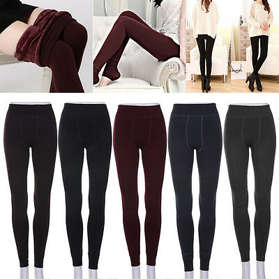 Women Warm Thick Fleece Fur Lined Thermal Leggings Solid Stretch Winter Pants k^