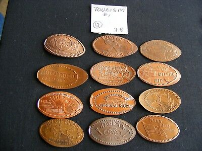 12 TOURISM THEMED Elongated Coin Rolled Pressed Smashed Pennies (38-1)
