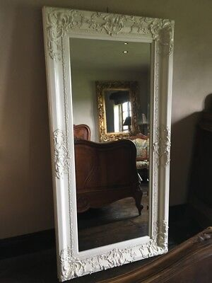 IVORY CREAM ANTIQUE WHITE OVERSIZED LARGE FRENCH  LEANER DRESS MIRROR 6FT x 4FT