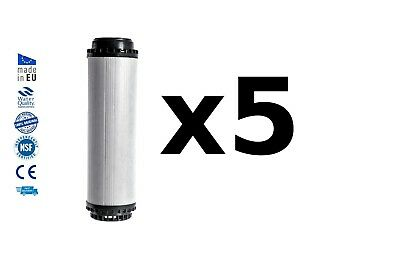 "5x Water filter cartridge activated coconut shell carbon replacement 10"" RO"