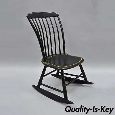 Antique Child's Black Bow Back Windsor Rocker Rocking Chair Hitchcock Style