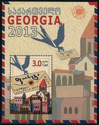 Georgien Georgia 2014 Post Schwalbe Brief Architektur Vogel Bird Block 60 MNH