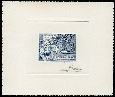 Laos 1956 Buddha Monastery 49 Artist Die Proof in Blue signed Pheulpin /90