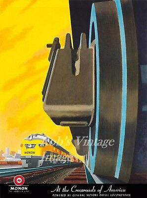 Monon Railroad Train Poster GM EMD Locomotives 8X10