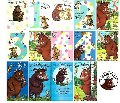 Official Gruffalo Birthday Greeting Card Ages 1 2 3 4 5th Son