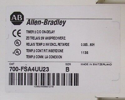 ALLEN BRADLEY 700 FSA4UU23 .05 Second-60 Hour Timer Timing Relay