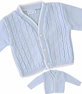 BabyPrem Baby Clothes Boys Traditional Knitted Blue Cable Cardigan Cardi 00- 1.5