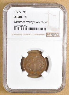 1865 Two Cent Piece NGC XF 40 BN