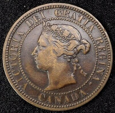 1887 Canada Large Cent 1C Queen Victoria Key Date Better Grade F