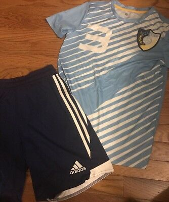 Futbol Outfit- Argentina Jersey With Navy Adidas Shorts!