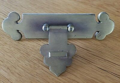 Vintage Antique Brass Drawer Pull with Backplate Asian x2