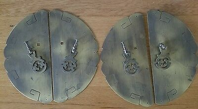 Vintage Antique Brass Drawer Pull with Backplate Asian x4 Geometric
