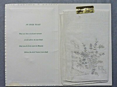vintage Irish Linen Embroidered Handkerchief  'Greetings from Cong.' Abbey House