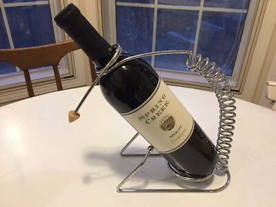 Vintage Retro Mid Century Mod Wire Wine Bottle CADDY Holder/Decanter Chrome