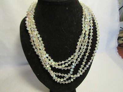 Vintage Six Strand Crystal Necklace With Clear Glass Cameo Heavy Clasp & Pin