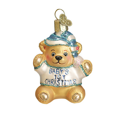 """Baby's 1st Teddy Bear"" (BLue) (12065)X Old World Christmas Glass Orn. w/ OWC Bx"