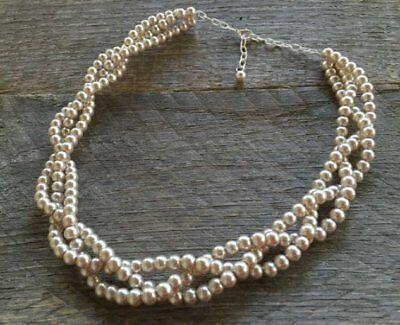 Champagne Braided Pearl Necklace Multi Strand Wedding Bridal Pearl Necklace
