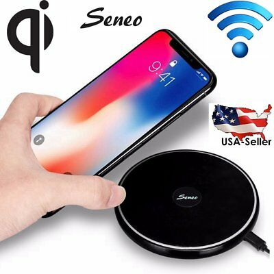 For iPhone X 10 8/8 Plus Portable Qi Wireless Fast Charger Charging Pad Mat Dock