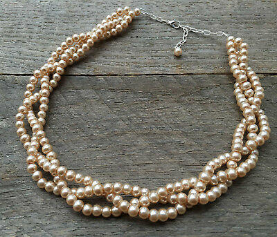 Pink Champagne Braided Pearl Necklace Multi Strand Wedding Bridal Pearl Necklace