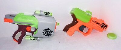 Nerf Zombie Strike Lot of 2 Blasters Guns Ricochet Sidestrike Side Strike Darts