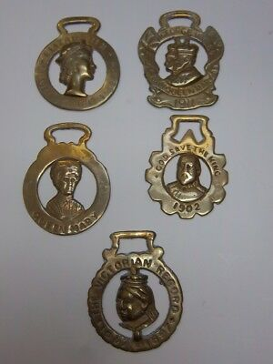 Vintage Brass Horse Medallions Equestrian England Queen Mary