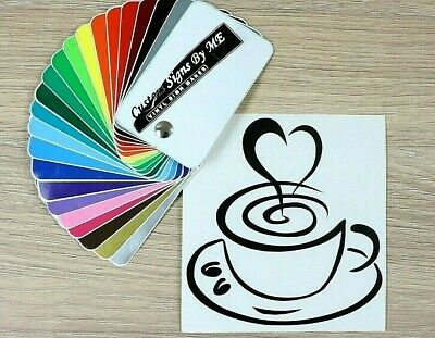 Coffee Cup Love Wall Sticker Kitchen Vinyl Decal Adhesive Door Cafe Decor BLACK
