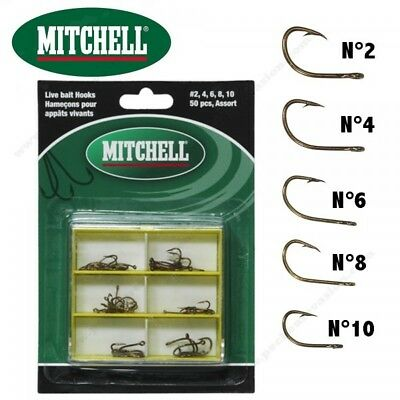 Assortiment 50 Hameçons Mer Mitchell Hampe Courte