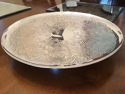 Beautiful Vintage Barker And Ellis Silver Plated Chased Cake Tray