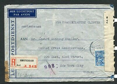 1941 Registered, Censored Cover From Nazi Occupied Netherlands To New York