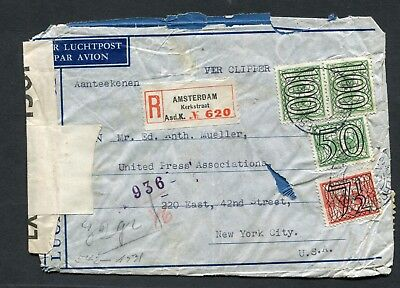 1041 Registered , Censored Cover From Nazi Occupied Netherlands To New York