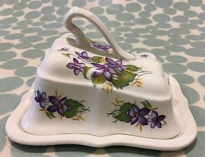 Vintage Arthur Wood Cheese Dish with wild flowers