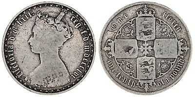 1856 Victoria florin silver coin of Great Britain