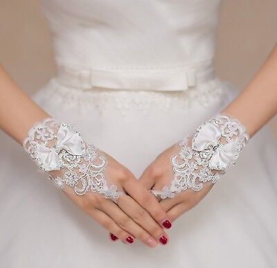butterfly ivory beaded wedding lace gloves bridal beaded lace gloves By pair