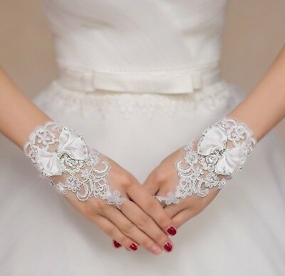 off white butterfly beaded wedding lace gloves bridal beaded lace gloves By pair