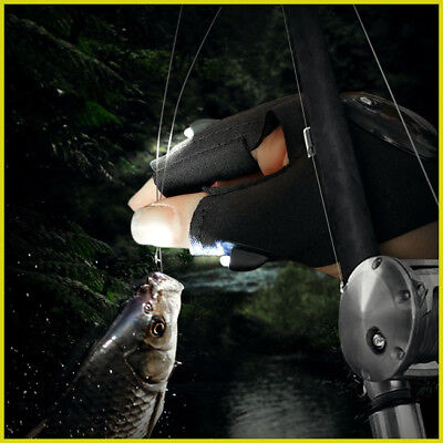 Fishing Fingerless Glove LED Repair Flashlight Survival Outdooors Rescue Tool