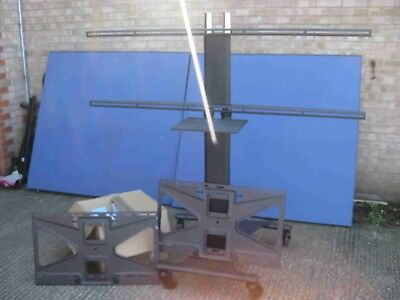 Dual TV / Monitor Flat Panel Display Stand on Wheels - Full Height - Conference
