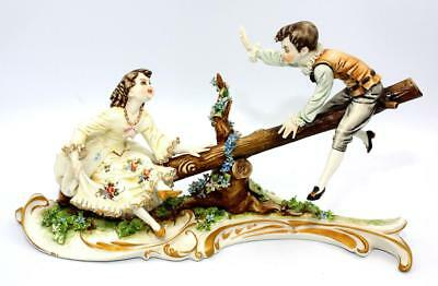 Exquisite,Vintage, Capodimonte Figurine, Boy & Girl on Seesaw, c1920-60
