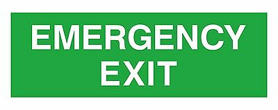 1x EMERGENCY Exit Vinyl Sticker Green for Exit Door Stairs Emergency Safety Car