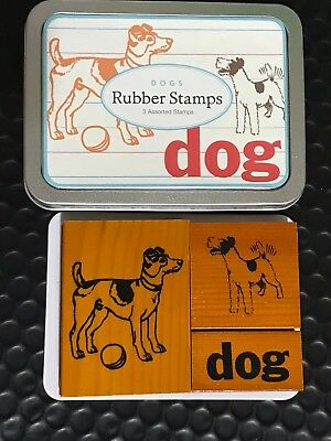 Funky Tin Of Wooden Rubber Dog Stamps Bn Cardmaking Scrapbooking Mixed Media